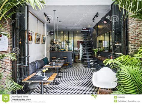 trendy interior design trendy retro style restaurant interior design editorial image image 53824535