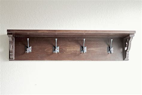 Shelf With Hooks white shelf with hooks diy projects