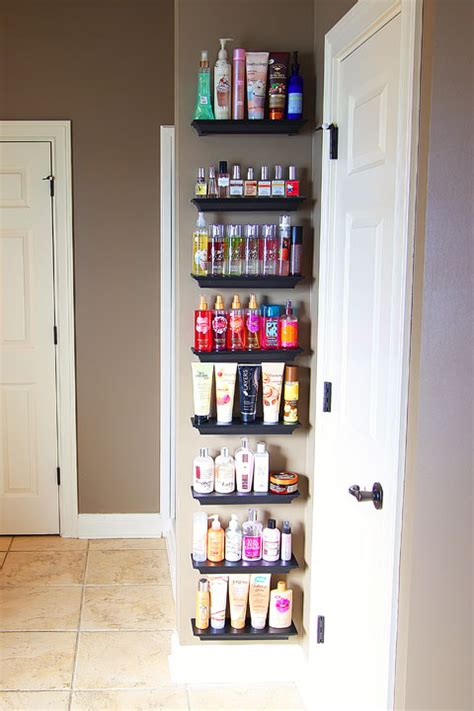 Shelf Organizing easy diy bathroom organization use crown molding to make shelves to organize perfumes lotions