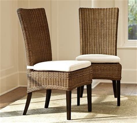 pottery barn dining room chairs jacquelyne rattan wicker side chair traditional dining