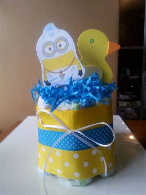 Minion Themed Baby Shower by Small One Layer Yellow Duck And Bay Minion Cake