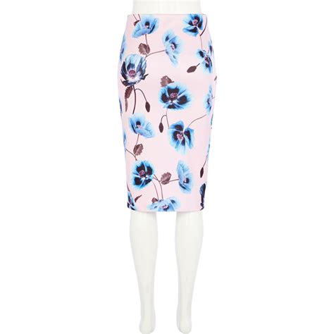 river island light pink floral print pencil skirt in