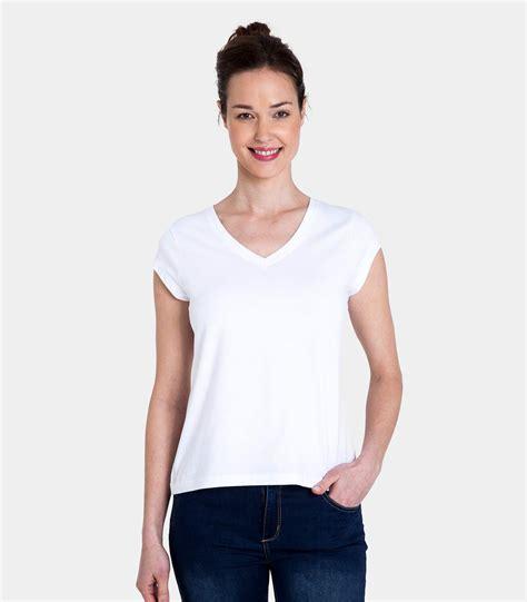 White Sleeved V Neck Shirt 1 white cotton elastane womens jersey v neck cap sleeve