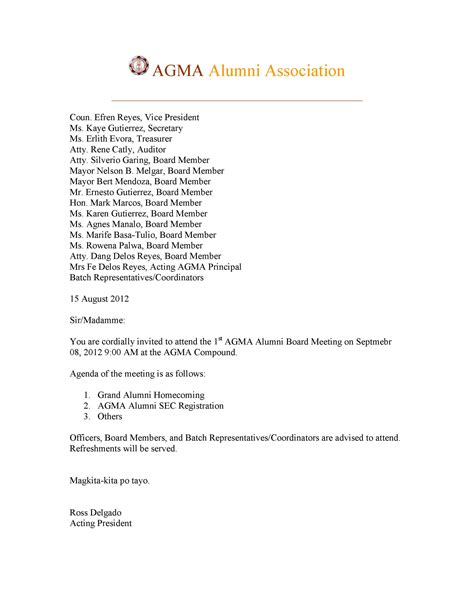 Invitation Letter Format For Alumni Meet invitation letter format for alumni meet gallery invitation sle and invitation design