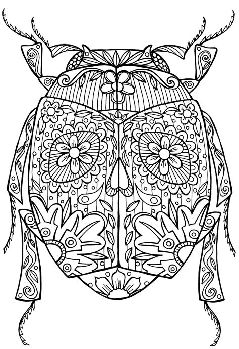 free printable zentangle coloring pages for adults beetle bug abstract doodle zentangle coloring pages
