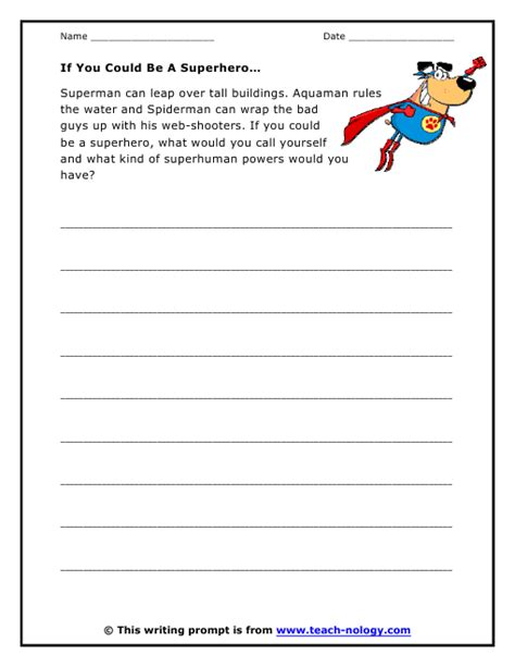 heroes printable worksheets if you could be a superhero prompt