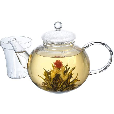 glass teapot with monaco leaf teapot glass teapot with infuser grosche