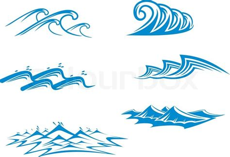 set of wave symbols for design isolated on white stock