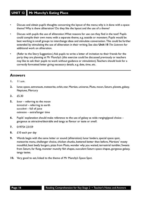 Reading Comprehension for Key Stage 2: Classroom Resources