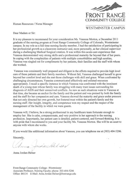 Recommendation Letter For Of The Year Letter Of Recommendation R Morton R N