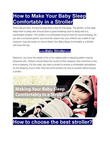 How To Make Your Baby Sleep In Their Crib How To Make Your Baby Sleep Comfortably In A Stroller Authorstream