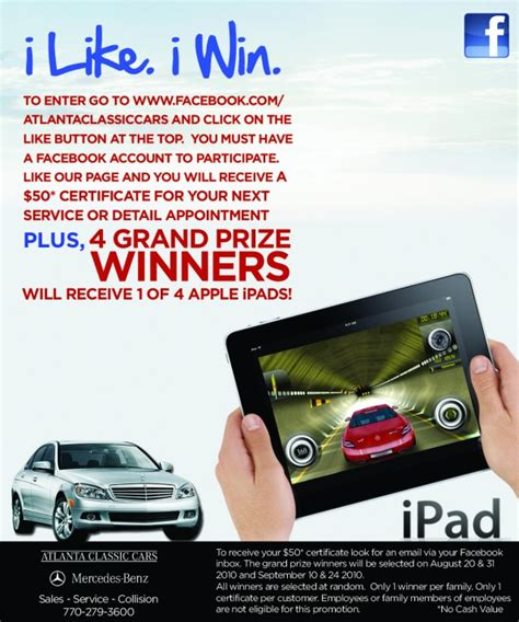 Facebook Ipad Giveaway - benzblogger 187 blog archiv 187 atlanta classic cars facebook ipad giveaway