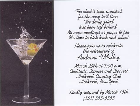 martini toast martini toast retirement invitations products i