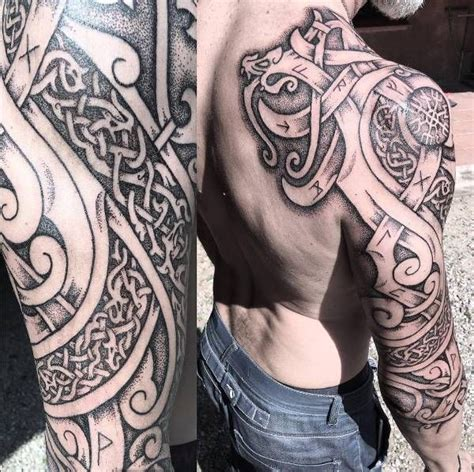 norwegian tribal tattoos nordic dragons and wolves sleeve tattoos