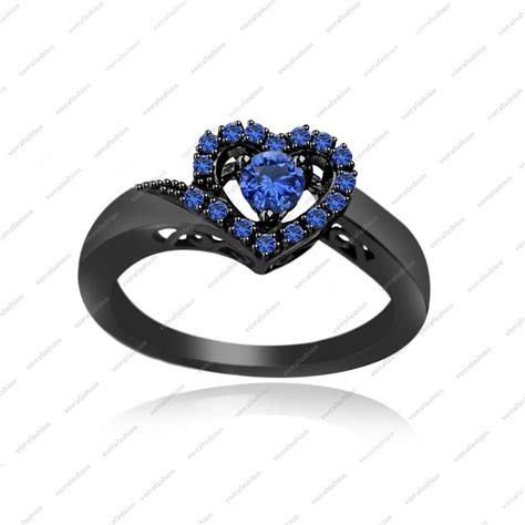 925 sterling silver 10k black gold plated blue sapphire