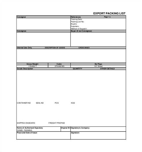 export packing list template 30 packing list templates pdf doc excel free