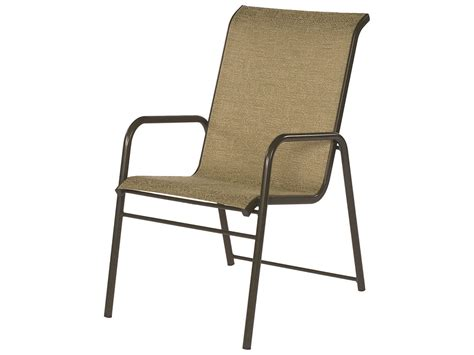 Suncoast Sanibel Sling Cast Aluminum Arm Stackable Dining Aluminum Sling Patio Chairs