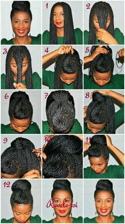 how do you do the bun in box braids 10 instructions directing you on how to style box braids