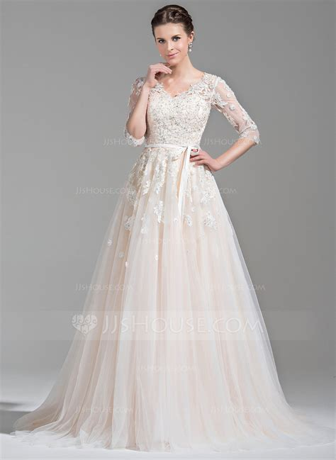 Court Wedding Dress by Gown V Neck Court Tulle Wedding Dress With