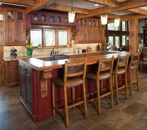 Rustic kitchen and island   Kitchen Islands   Pinterest