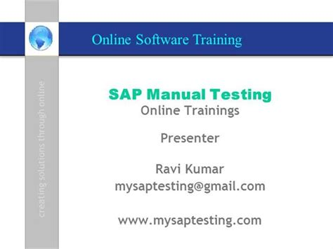 sap testing tutorial pdf sap tao vglobal it solutions sap manual authorstream