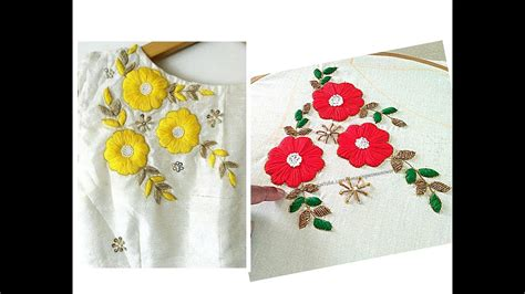 boat neck hand embroidery designs satin stitch flower embroidery for boat neck blouse