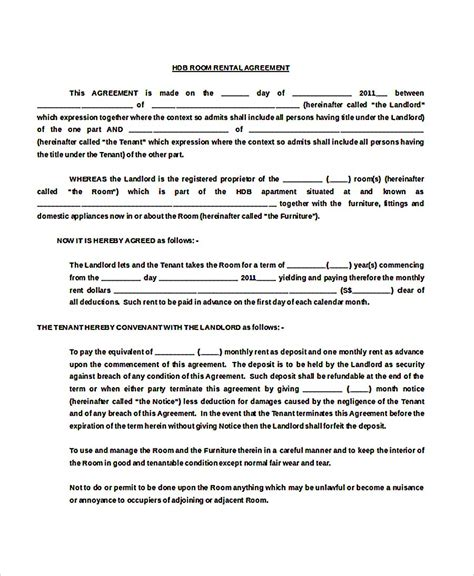 free rental agreement templates 9 room rental agreement template