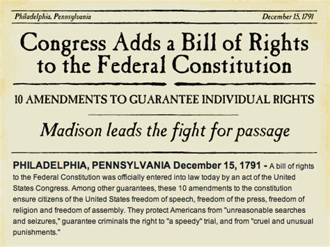 the of the constitution how the bill of rights became the bill of rights books this day in history december 15 the bill of rights is