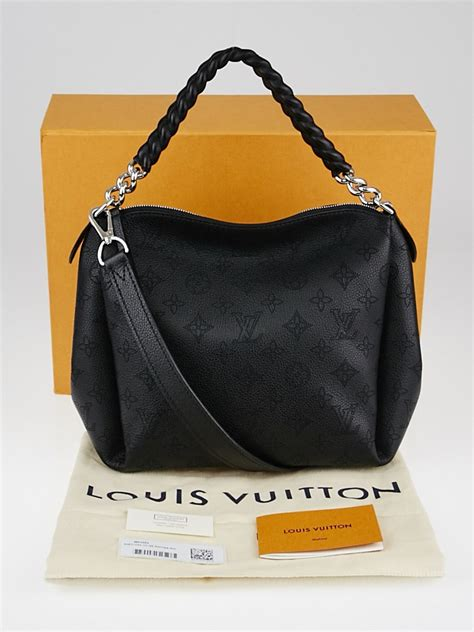 louis vuitton black monogram mahina leather babylone chain