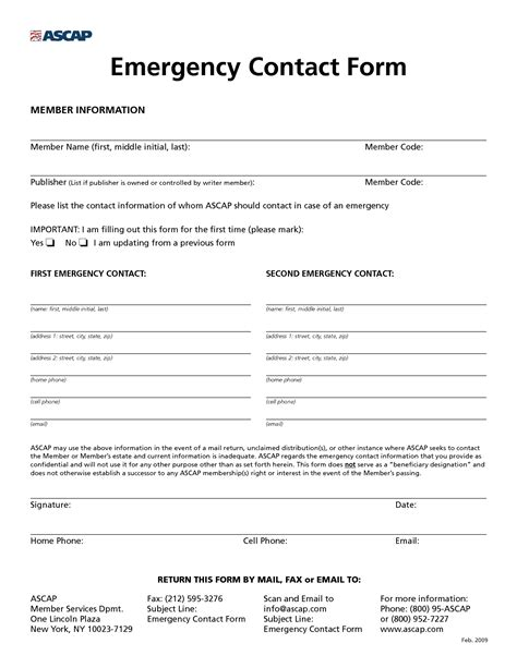 emergency contacts template 8 best images of free printable emergency contact form
