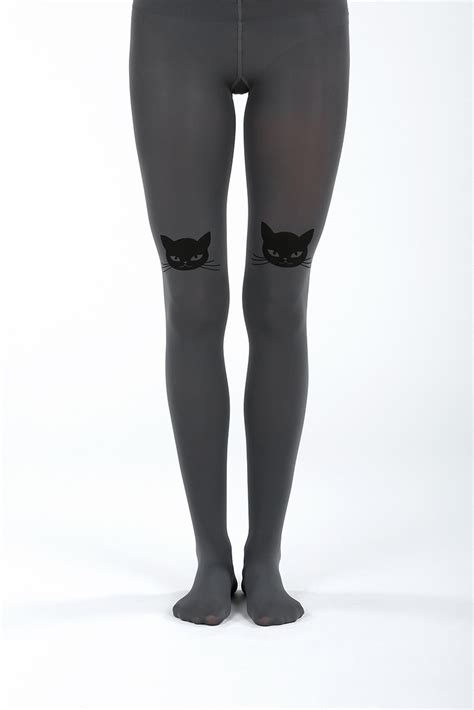 Cat Printed Tights cat tights in grey virivee tights