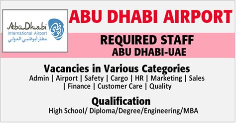 In Abu Dhabi For Mba Freshers by Abu Dhabi Airport Vacancies Uae Apply Now