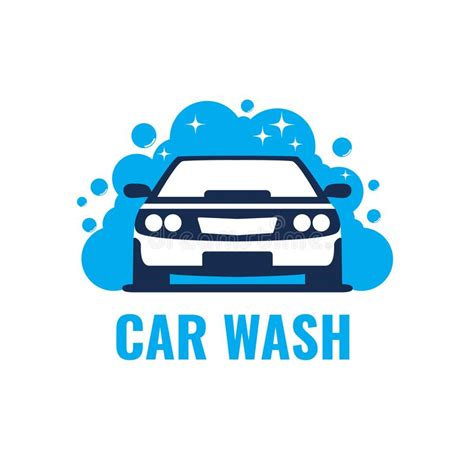 Car Wash Logo On Light Background Clean Car In Bubbles And Water Stock Vector Illustration Car Wash Logo Template Free