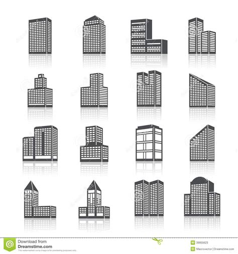 Garage Plans And Prices edifice buildings icons set stock vector image 39955623