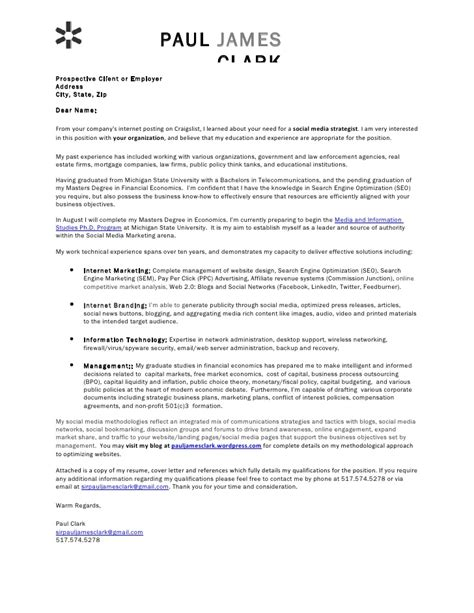 Cover Letter For Television Internship Paul Clark Social Media Cover Letter