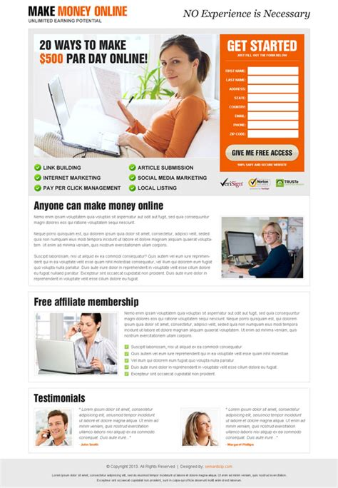 Make Money Online Landing Page - 10 dedicated landing page design for top online marketers buylpdesign blog