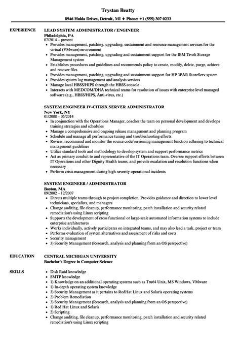 systems engineer resume resume templates