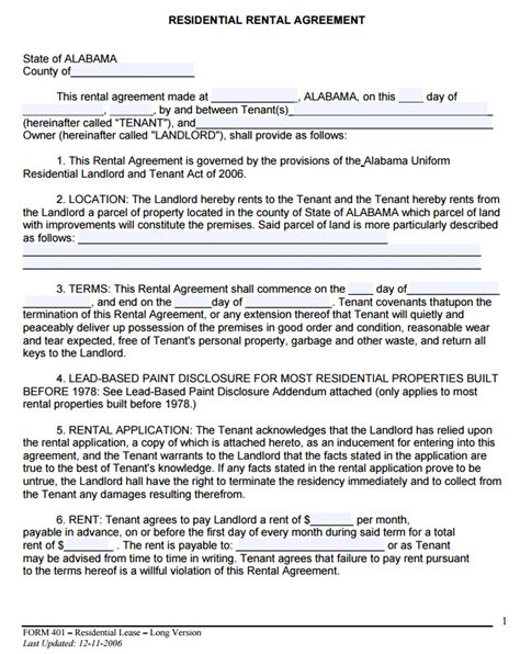 Free Alabama Rental Lease Agreement Form Pdf Template Form Download Alabama Lease Agreement Template