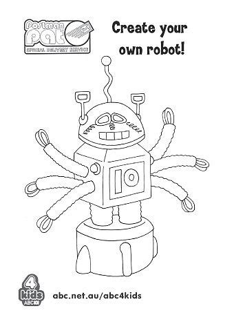 create your own robot postman pat special delivery service print and colour abc4kids