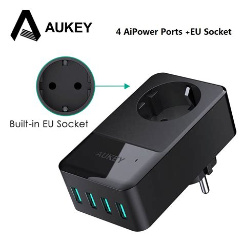 aukey usb charger 4 port mobile phone wall charger
