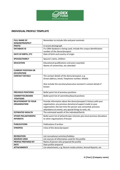 Individual Profile Template In Word And Pdf Formats Donor Prospect List Template