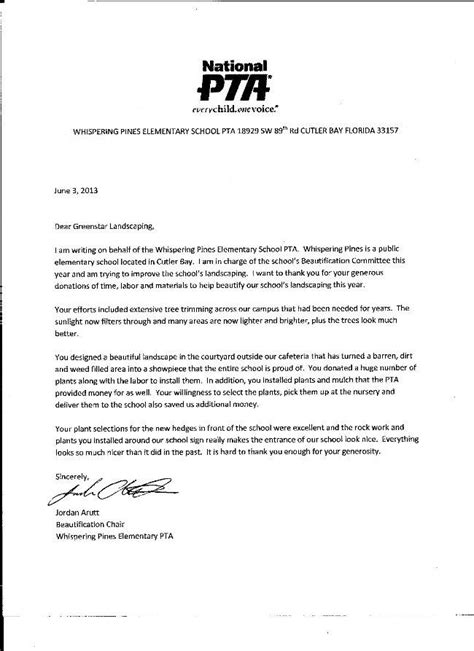 Sponsorship Letter Pta Volunteer Work At Whispering Pines Elementary Greenstar