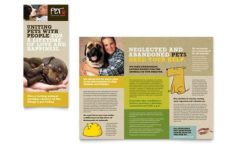 animal shelter pet adoption tri fold brochure template