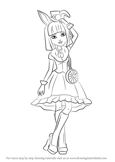 bunny blanc coloring pages step by step how to draw bunny blanc from ever after high