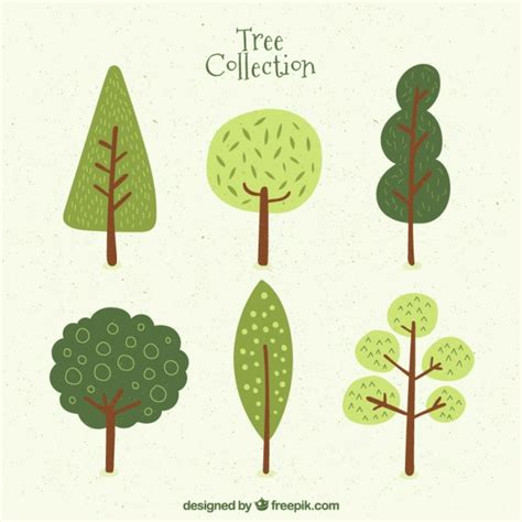 cute trees six cute trees vector free download