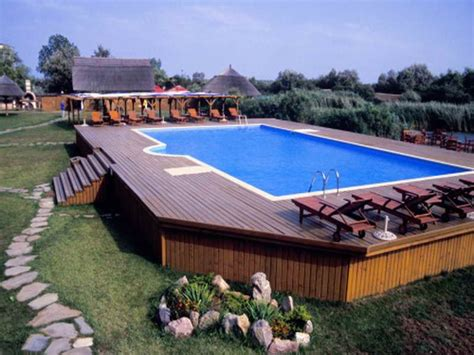 Backyard Pools With Deck How To Repair Decks For Above Ground Pools In Backyard