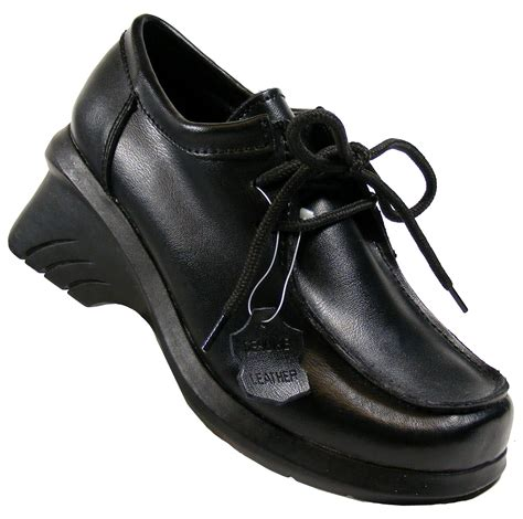 new quality black leather lace up school womens