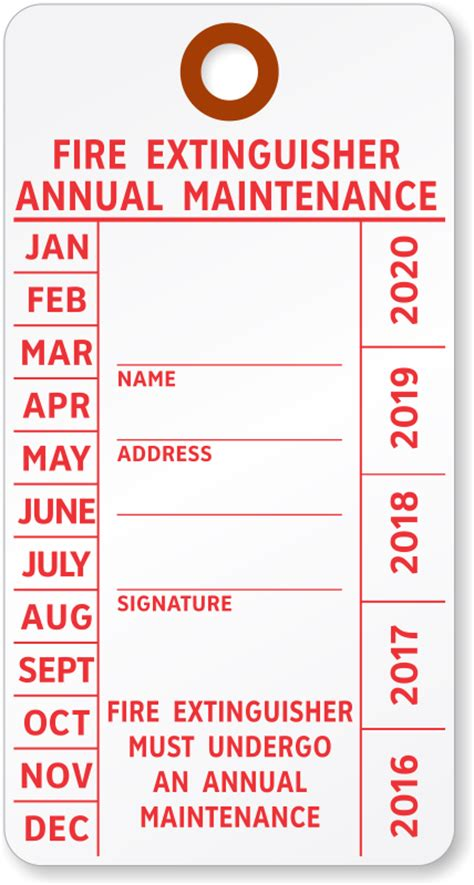 Monthly Fire Extinguisher Inspection Tags Free Extinguisher Inspection Tags Template