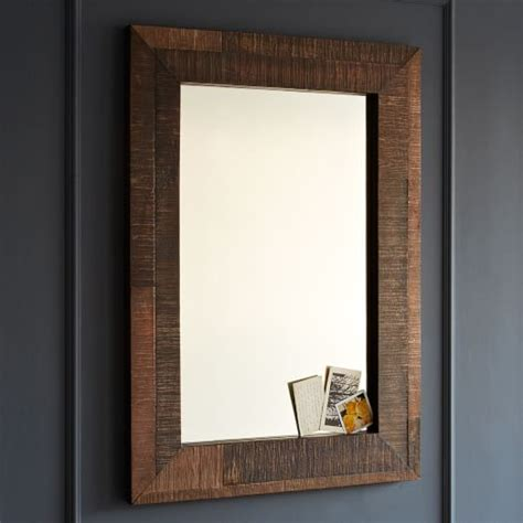 reclaimed wood bathroom mirror reclaimed wood wall mirror west elm