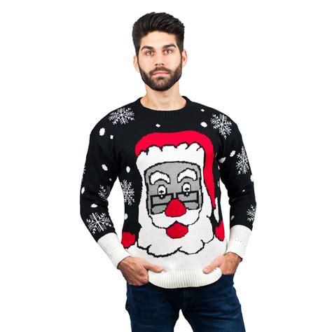 black pattern christmas jumper c3007 bk men christmas jumper santa pattern black